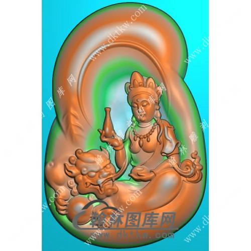 玉雕随形手托净瓶狮子侧坐文殊菩萨挂件精雕图(PXF-146)