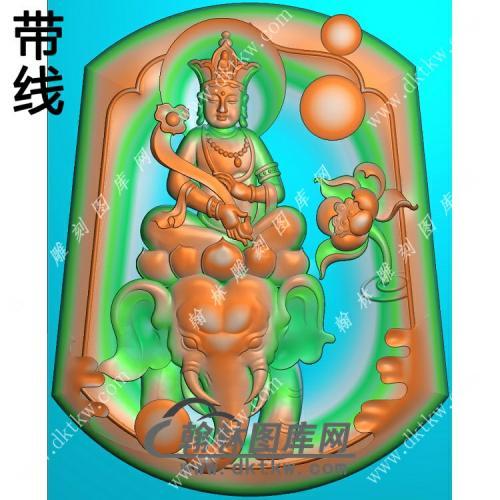 玉雕梯形凹底莲花普贤菩萨挂件带线精雕图(PXF-102)