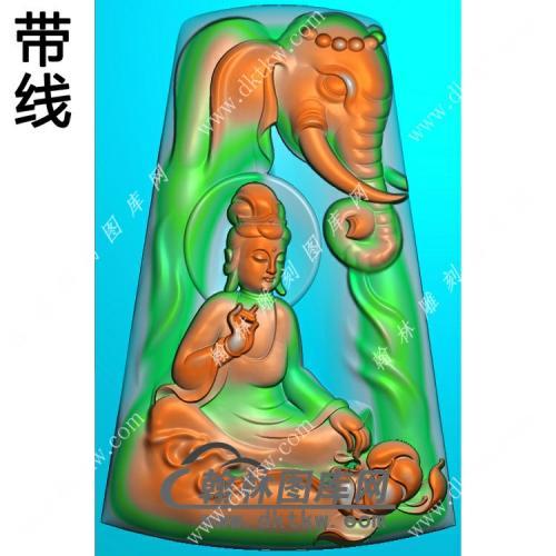 玉雕梯形凹底莲花象头坐普贤菩萨挂件带线精雕图(PXF-140)