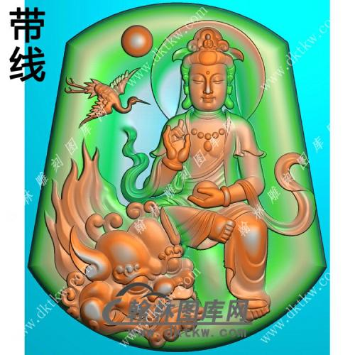 玉雕梯形仙鹤坐狮文殊菩萨挂件带线精雕图(PXF-213)