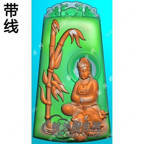 玉雕梯形云纹牌头竹子狮子坐文殊菩萨挂件带线精雕图(PXF-145)