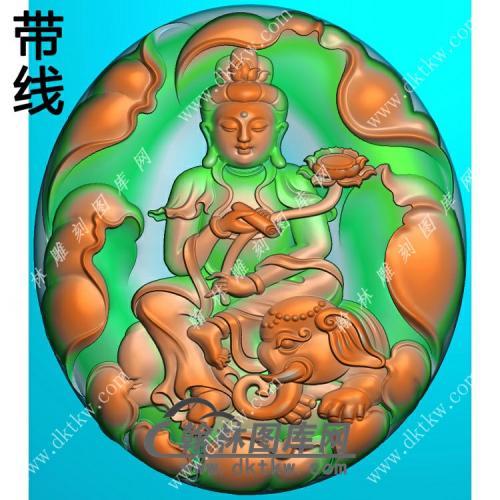 玉雕椭圆莲花背景普贤菩萨挂件带线精雕图(PXF-123)