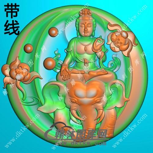 玉雕圆形凹底莲花普贤菩萨挂件带线精雕图(PXF-193)
