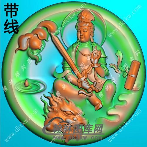 玉雕圆形凹底莲花狮子头文殊菩萨挂件带线精雕图(PXF-127)