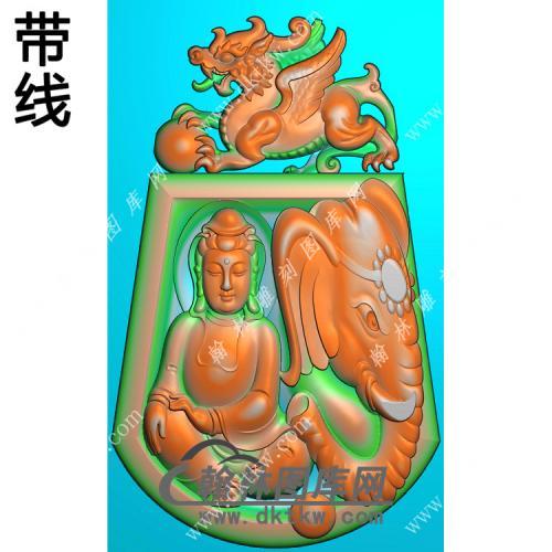 貔貅牌头普贤菩萨挂件带线精雕图(PXF-180)