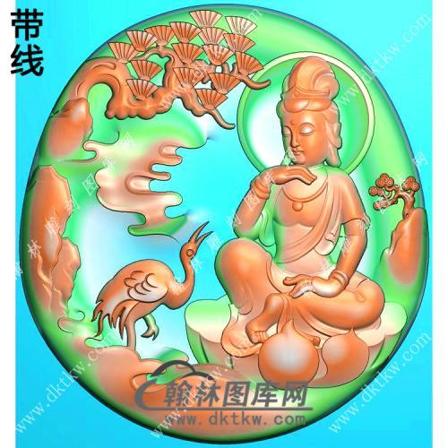 玉雕椭圆凹底松鹤山水坐莲观音挂件带线精雕图(SGY-230)