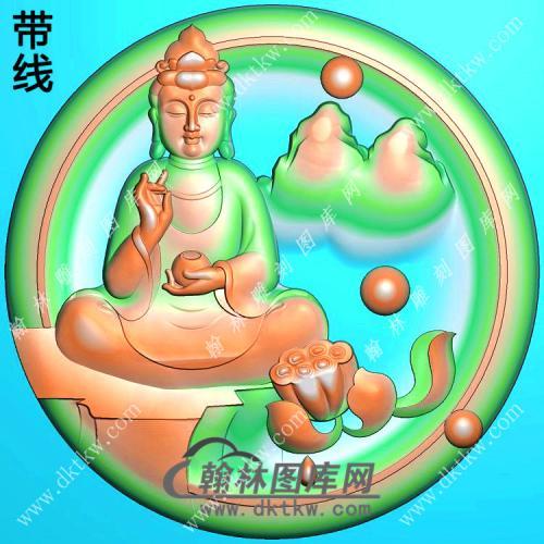 玉雕圆形凹底莲花手托香炉坐石山水观音挂件带线精雕图(SGY-333)