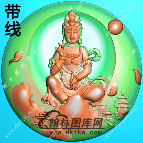 玉雕圆形手捏佛珠手托净瓶山水坐观音挂件带线精雕图(SGY-301)
