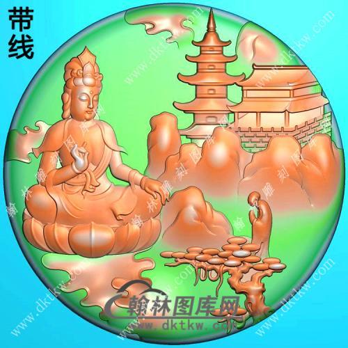 玉雕圆形悟道坐莲山水观音挂件带线精雕图(SGY-185)