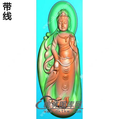玉雕随形莲花站立观音挂件精雕图(OGY-345)