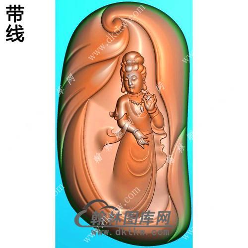 玉雕随形手捏佛珠站立观音挂件带线精雕图(OGY-369)