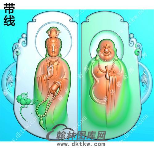 玉雕随形站立观音弥勒佛对牌挂件带线精雕图(OGY-379)