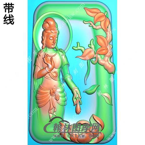 玉雕梯形凹底莲花站立观音挂件带线精雕图(OGY-394)