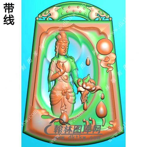 玉雕梯形凹底双龙牌头悟道手持莲花站立观音挂件带线精雕图(OGY-411)