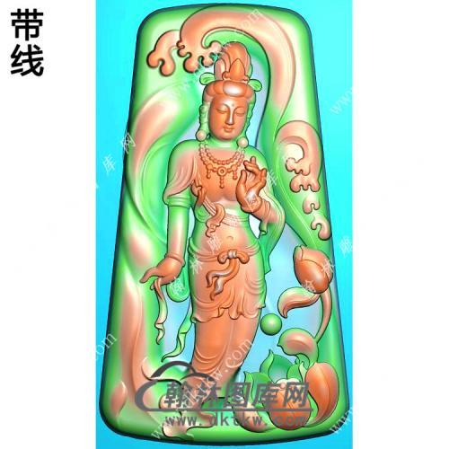 玉雕梯形凹底水浪花莲花站立观音挂件带线精雕图(OGY-412)