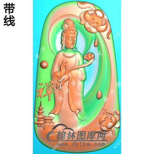 玉雕梯形禅字莲花站观音挂件带线精雕图(OGY-402)