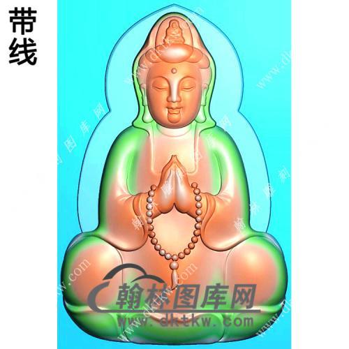 玉雕双手合十坐莲观音挂件带线精雕图(LGY-138)
