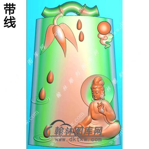 竹节牌头滴水坐观音挂件带线精雕图(ZGY-460)