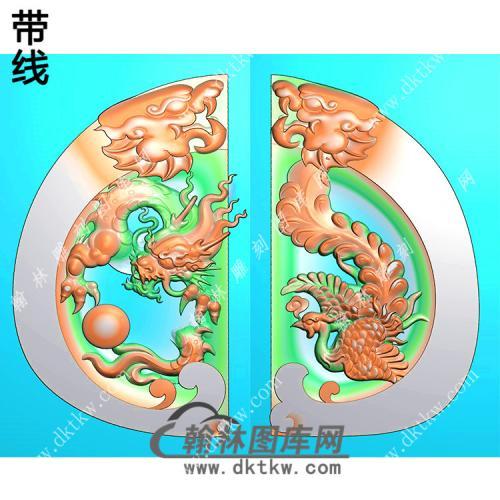 玉雕双龙牌头龙凤对牌挂件带线精雕图(GLF-033)