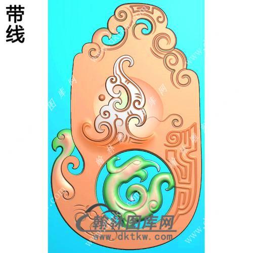 玉雕随形仿古龙凤对牌挂件带线精雕图(GLF-036)