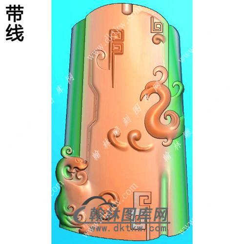 玉雕随形弧面仿古龙凤牌挂件带线精雕图(GLF-042)
