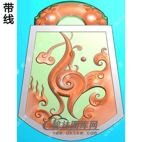 玉雕梯形仿古龙凤对牌挂件精雕图(LF-311)