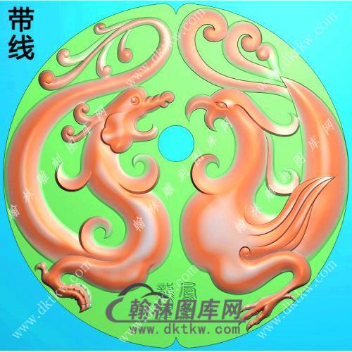 玉雕圆形仿古龙凤呈祥挂件带线精雕图(GLF-032)
