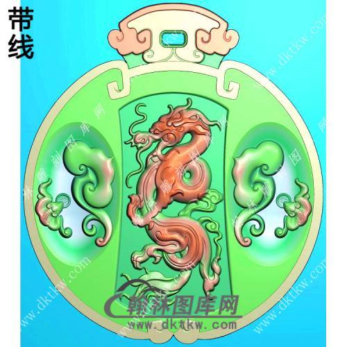 玉雕圆形龙凤对牌挂件精雕图(LF-313)