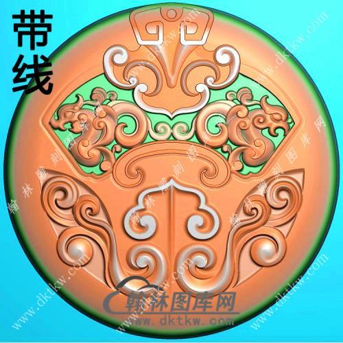 玉雕圆形龙凤仿古牌挂件带线精雕图(GLF-121)