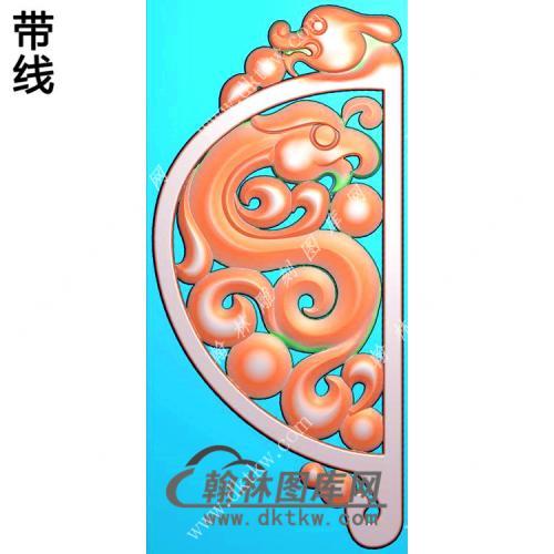 玉雕镂空仿古龙凤对牌挂件带线精雕图(GLF-031)