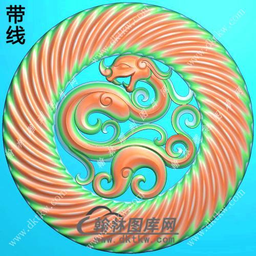 圆纹仿古龙凤对牌挂件带线精雕图(GLF-207)