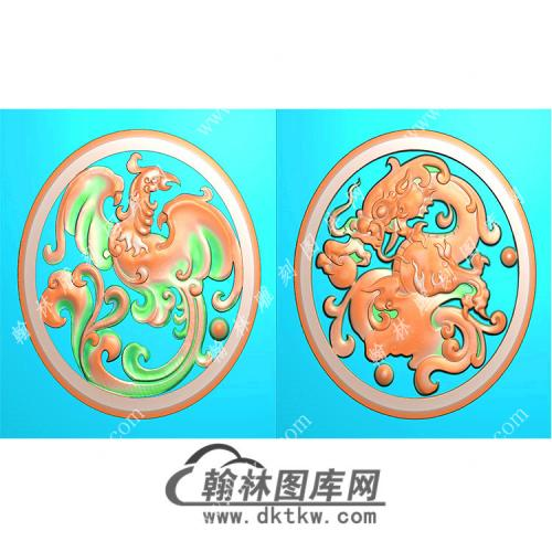圆形仿古龙凤对牌挂件精雕图(GLF-030)