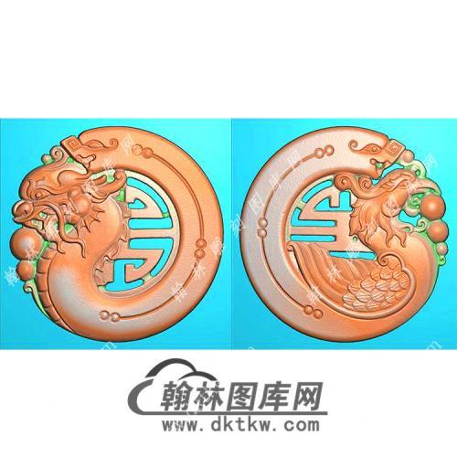 圆形仿古龙凤对牌挂件精雕图(GLF-445)