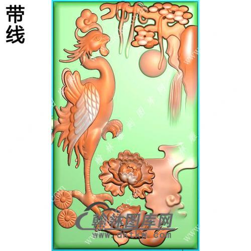 玉雕牡丹凤凰挂件带线精雕图(GLF-229)