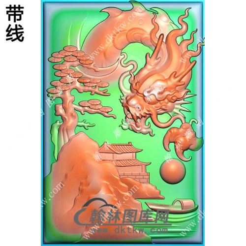 玉雕山水龙牌挂件带线精雕图(GLF-289)