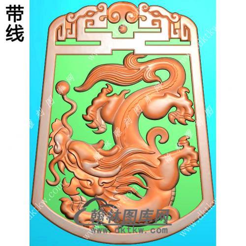 玉雕双面龙牌挂件带线精雕图(GLF-286)