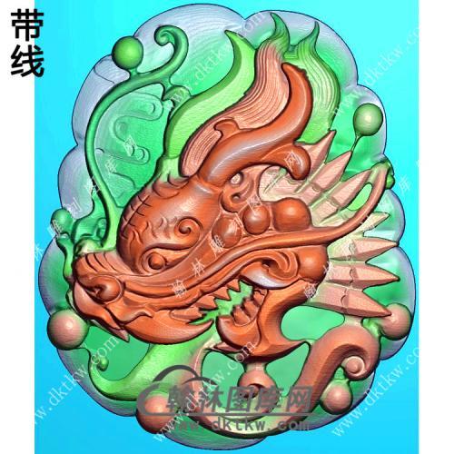 玉雕随形龙头挂件精雕图(GLF-271)