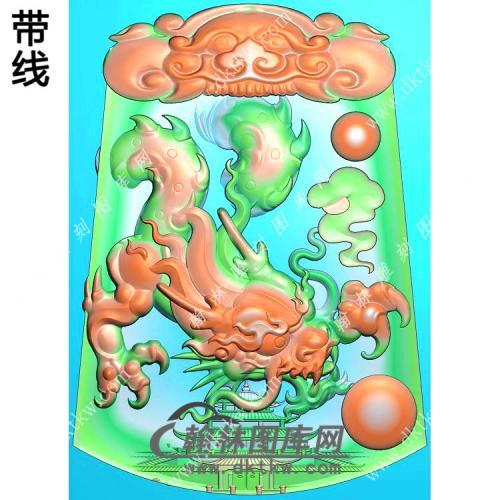 玉雕梯形凹底兽头兽面牌头府上有龙龙牌挂件带线精雕图(GLF-274)