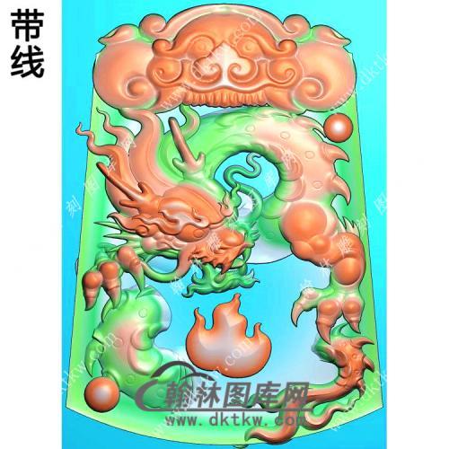玉雕梯形凹底兽头兽面牌头火焰龙牌挂件带线精雕图(GLF-272)