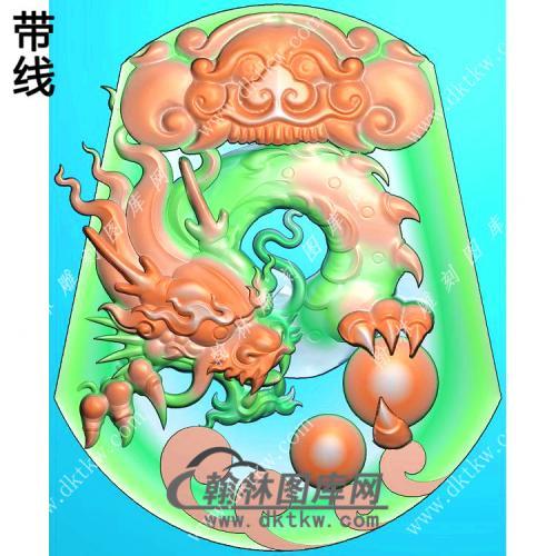 玉雕梯形凹底兽头兽面牌头龙牌挂件带线精雕图(GLF-276)