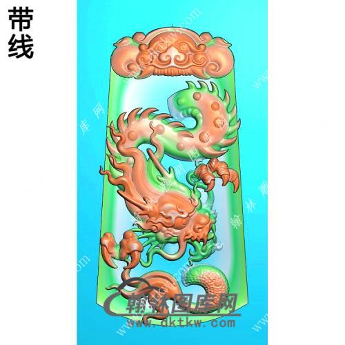 玉雕梯形凹底兽头兽面牌头龙牌挂件带线精雕图(GLF-277)