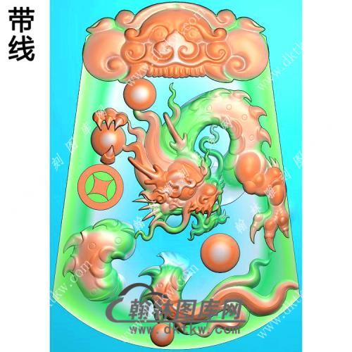 玉雕梯形凹底兽头兽面牌头铜钱龙牌挂件带线精雕图(GLF-278)