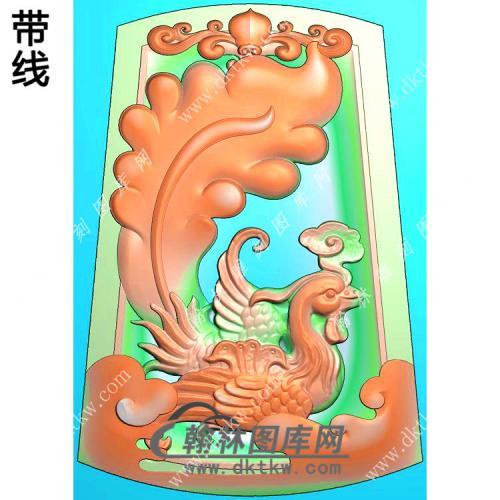 玉雕梯形凹底洋花牌头凤凰挂件精雕图(GLF-230)