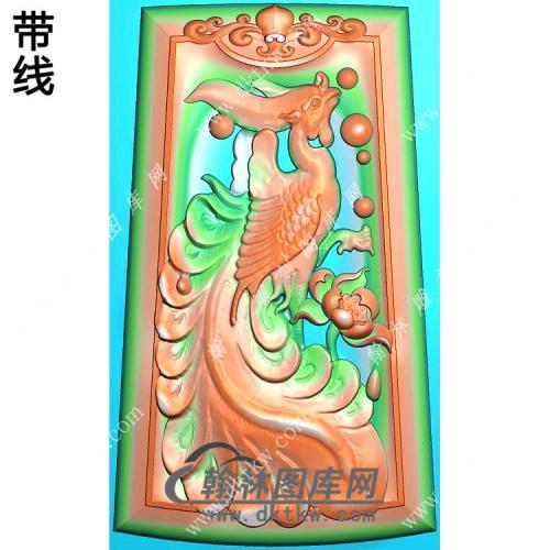 玉雕梯形凹底洋花牌头凤凰挂件精雕图(GLF-231)