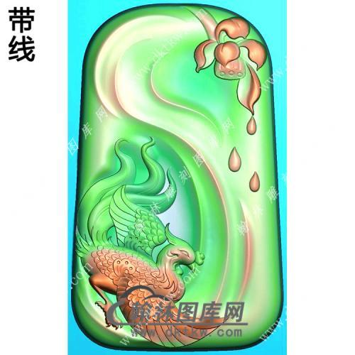 玉雕梯形滴水莲花凤凰挂件精雕图(GLF-232)