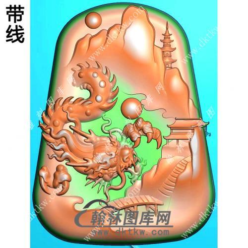 玉雕梯形山水龙牌挂件带线精雕图(GLF-291)