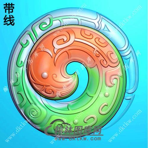 圆形仿古凤币挂件精雕图(GLF-224)