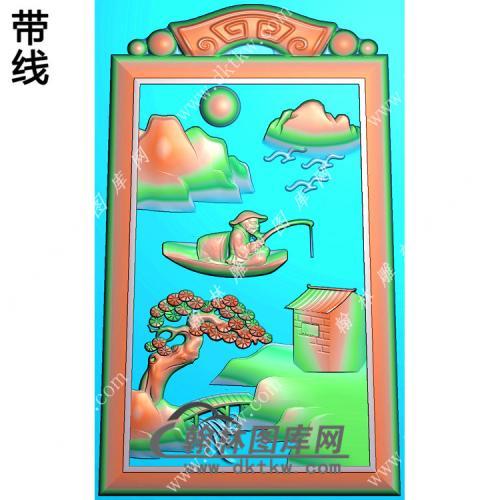 钓鱼山水人物挂件带线精雕图(SSG-282)