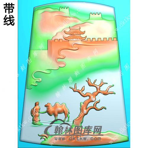 山水人物牵骆驼挂件带线精雕图(SSG-431)