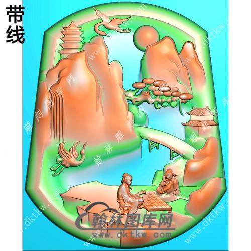 下棋山水人物挂件带线精雕图(SSG-412)